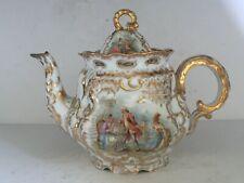 Antique Dresden Porcelain PAINTED Teapot Gold Gilt WATTEAU Scroll N Mark