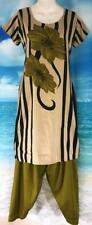 "Tan Olive Black Salwar Kameez 37"" Bust Punjabi Indian Sari Pant Suit 2 pc"
