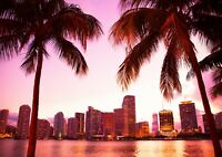 Florida Miami Beach Poster Size A4 / A3 Vacation Landscape Poster Gift #12610