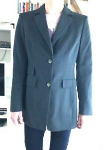 Fab! AKRIS Gray 93% Cashmere +Silk 2-Button Long Blazer Jacket US8 D38 F40 Italy