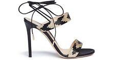 Gianvito Rossi Black & Gold Leather Suni Ankle-Tie Sandals EU 38 $995