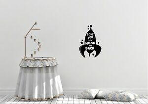 Love You To The Moon And Back Design Childrens Kids Bedroom Wall Art Decal Vinyl