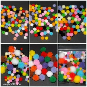 POM POMS 6, 8, 10, 20mm or Mixed Assorted Colours & Sizes Schools 3D Fun Crafts