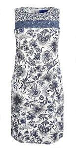 NEW NEXT LADIES LINEN BLEND FLORAL PRINT SUMMER SHIFT DRESS TUNIC S 6~20 £18.95