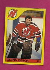 RARE 1985-86 OPC # L DEVILS GLENN RESCH GOALIE BOX BOTTOM NRMT CARD (INV#6364)
