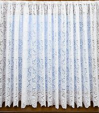 WHITE NET CURTAIN HEAVY THICK TRADITIONAL LACE DAISY ROSE FLORAL FLOWERS 1474