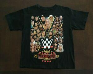 WWE 2019 Tour Live T-Shirt Size Youth Medium Black Road To Wrestlemania Tour EUC