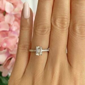 14K Rose Gold Plated 1.25ct Emerald Cut Diamond Solitaire W/Accents Wedding Ring