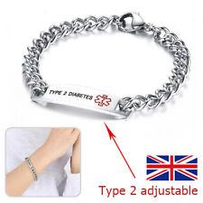 Type 2 Diabetes Stainless Steel Health Bracelet Medical Alert ID Engraved Chain