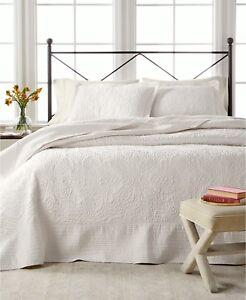 Martha Stewart Bedding Lush Embroidery TWIN Bedspread Ivory $160 i3833