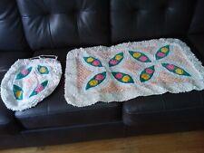 MCM  Vintage Floral Chenille Rug / Bath Mat Set rug 20 x 34  seat cover 15 x 17