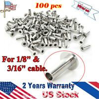 """Protector Sleeve 100 Pcs T316 Stainless Steel for 1/8"""" & 3/16"""" Cable Railing New"""