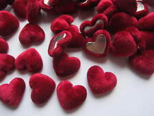 10 x 17MM RED VELVET HEART FLAT BACK PERFECT FOR HEADBANDS BOWS CARD MAKING