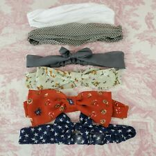 Lot of 6 Headbands Bow Scarf Style Elastic Back Sold As Is