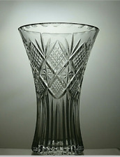 More details for large vintage lead crystal cut glass footed vase 8