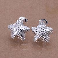Damen Ohrring Seestern Ohrstecker Ohrringe Creolen pl. mit Sterlingsilber DO032