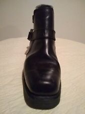 """KARL KANI"" Vintage Black Leather Two Buckle Motorcycle Boots, Men's Size 9"