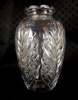 Vintage Vetro Vaso Art Déco Trasparente Depressione Vetreria Fern Foglia Fiore A