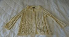 ANN TAYLOR Merino Wool Cardigan Sweater Ivory Cream Cable Knit Size Medium M