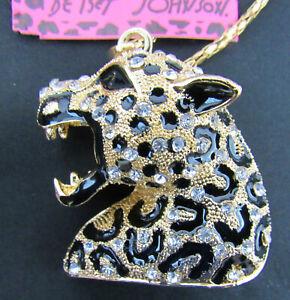 New Betsey Johnson Black Leopard Head Pendant Necklace Rhinestones and Enamel