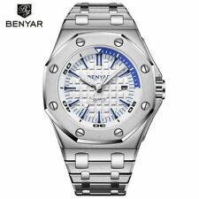 BENYAR BY-5123M Mens Watch 3ATM Quartz Watches Full Steel Band Strap Alloy Case
