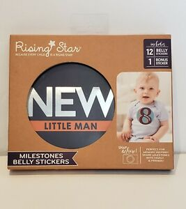Rising Star Milestone Photo Prop Belly Stickers Set, Baby Boys, Age 0-12M NEW