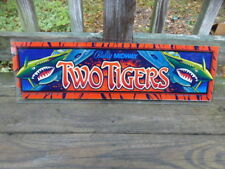 Vintage 1984 Ballys Two Tigers Arcade Video Game Header GLASS Panel sign