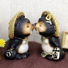 Japanese Shigaraki yaki Lucky charm Kiss Pottery ware Tanuki Raccoon dog