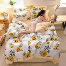Sunflower White Comfort Bedding Set Duvet Cover Bed Sheet Sets BowknotFour-piece