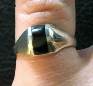 Sterling Silver Ring Black Onyx Striped Domed Band Sz 5.75 2.7g 925 #1265