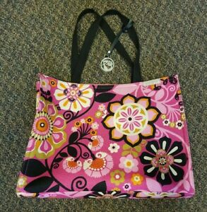 Large Spartina 449 Canvas Travel Beach Weekender Tote Graphic Floral Pinks EUC!!