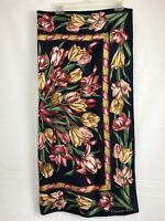 """Christian Dior Vintage Scarf Silk 35"""" by 35"""" Italy Tulips Flowers Navy EUC"""