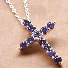 Newest Fashion Natural Purple Amethyst Gemstone Silver Cross Necklace Pendants