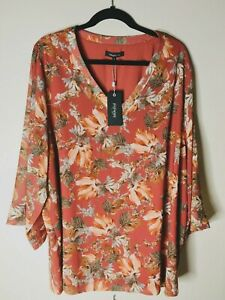 PIPER (Myer) Size S (16 to 18) Top Blouse Rust Orange Floral Plus Size BNWT Work