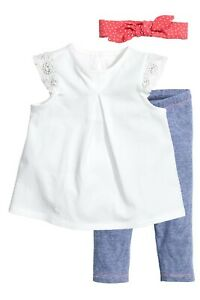 H&M Baby 3 Piece Set Leggings, Top & Headband Age 18 Months - 2 Years New