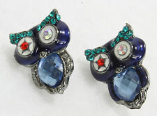 "Eclectic crafty owl post earrings navy blue crystal star eyes 1"" faceted body"