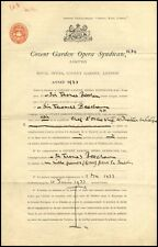 Sir Thomas BEECHAM (Conductor): Signed Covent Garden Contract!