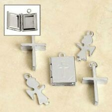6 Christian Charms Child Angel Cross and Bible Locket 8mm - 11mm Silver-tone