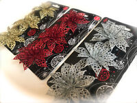 3 Glitter Christmas Decorations Poinsettias Flowers Gold Silver Red Xmas Garland