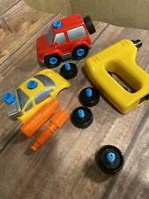 Vtg 1992 93 Fisher Price Action Sounds Garage #2084 Yellow & Red Car Parts Lot
