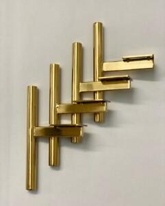 4 x Gold metal cylindrical T-Bar furniture legs