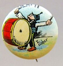 1910 Bud Fisher MUTT & JEFF Beat It! Hassan Cigarettes pinback button *