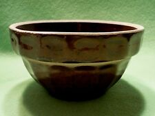 Antique USA POTTERY brown stoneware # 5 bowl.Ribbed & square designs on exterior