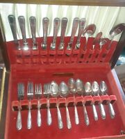 52 Pcs. Vintage  Wm. Rogers & Son IS Silver Plate Flatware Talisman 1938 & Chest