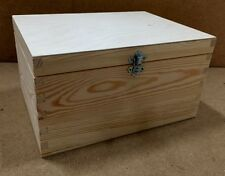 Pine wooden storage box RN130 decoupage paint stain varnish silver clasp