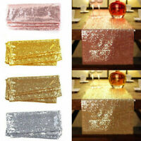 "12""x72''/108""/118"" Sparkle Sequin Table Runner Cloth Wedding Banquet Party Decor"