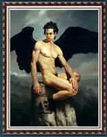 "Hand-painted original Oil painting art boy male nude angel on canvas 24""x36"""