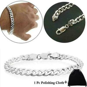 Genuine Solid 925 Sterling Silver Men Women Curb Chain Link Bracelet 8mm Italy