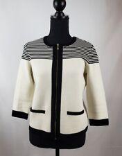 Talbots Petites White Black Stripe Zip Sweater S