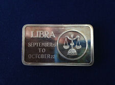 1973 Jacques Cartier Mint Libra Zodiac JCM-12 Silver Art Bar P2134